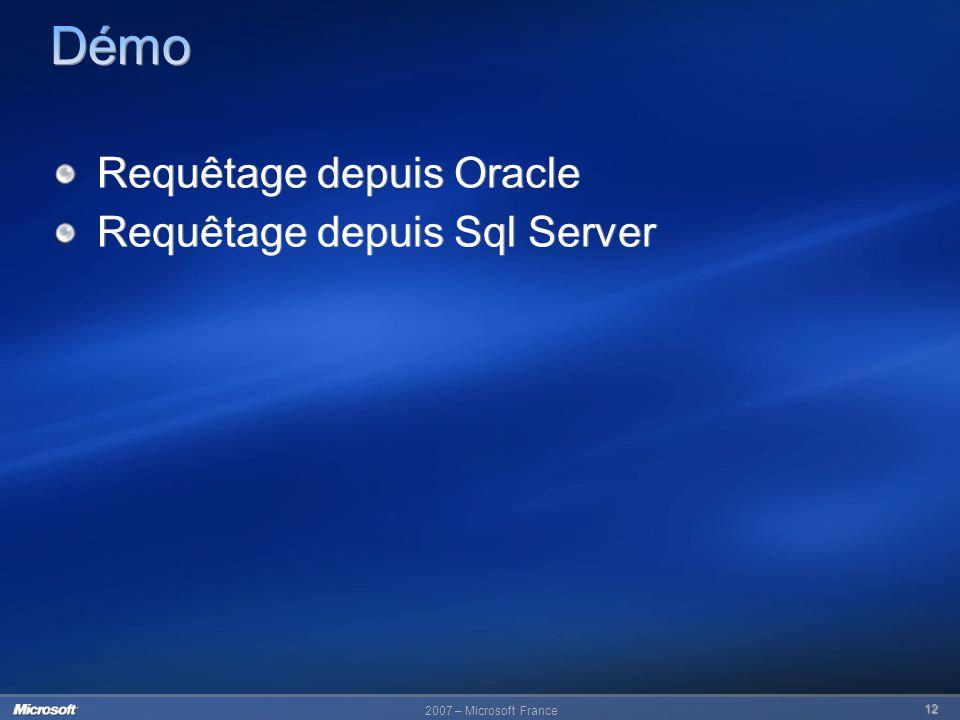 Démo Requêtage depuis Oracle Requêtage depuis Sql Server