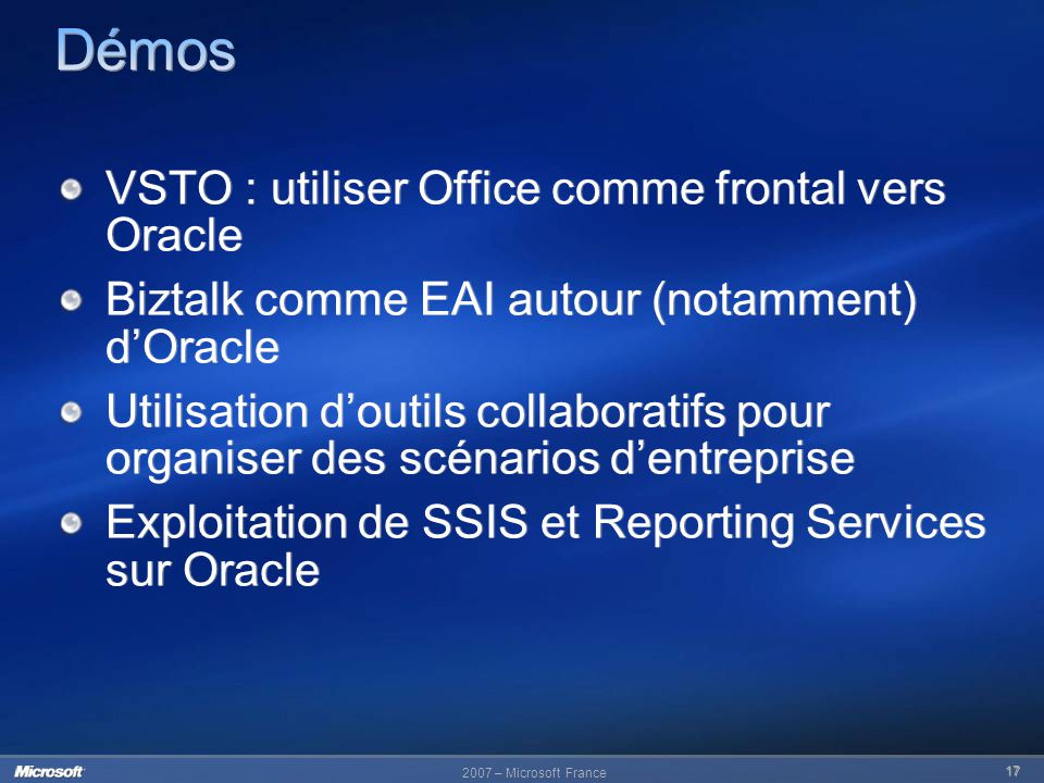 Démos VSTO : utiliser Office comme frontal vers Oracle