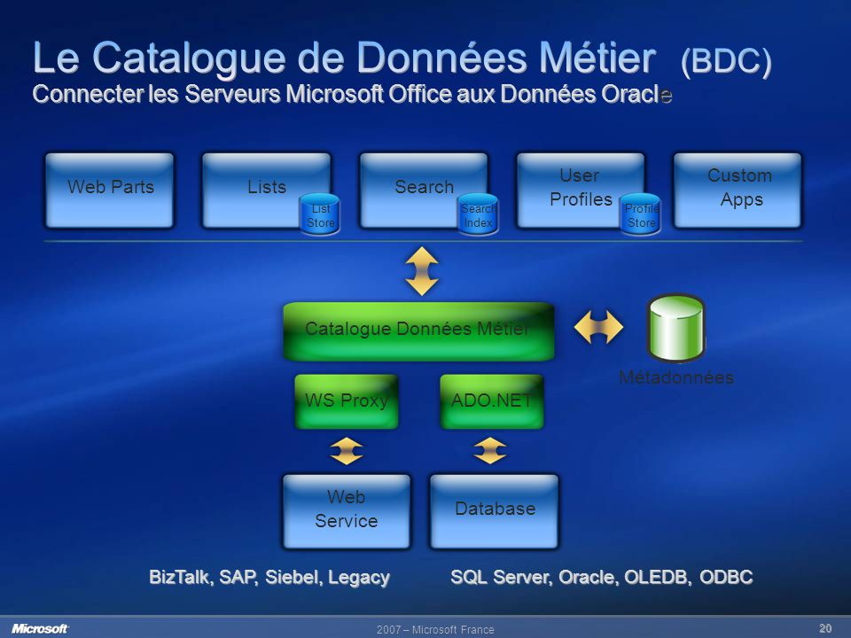 Le Catalogue de Données Métier (BDC) Connecter les Serveurs Microsoft Office aux Données Oracle