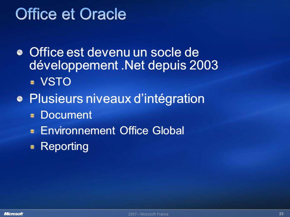Office et Oracle Office est devenu un socle de développement .Net depuis 2003. VSTO. Plusieurs niveaux d'intégration.