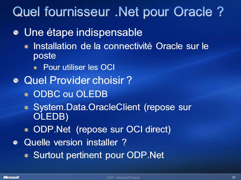 Quel fournisseur .Net pour Oracle