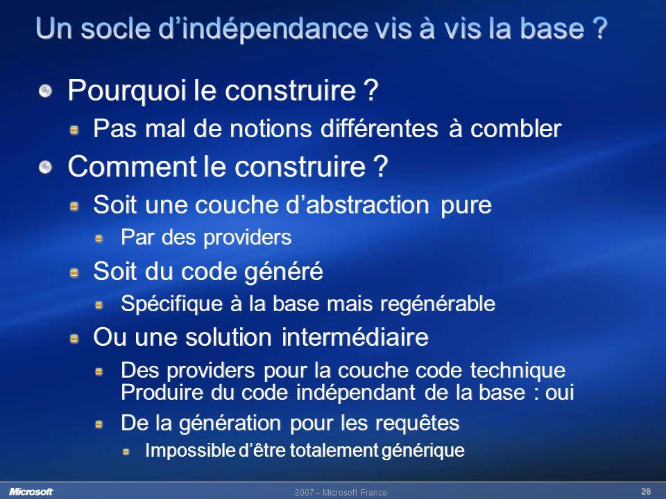 Un socle d'indépendance vis à vis la base