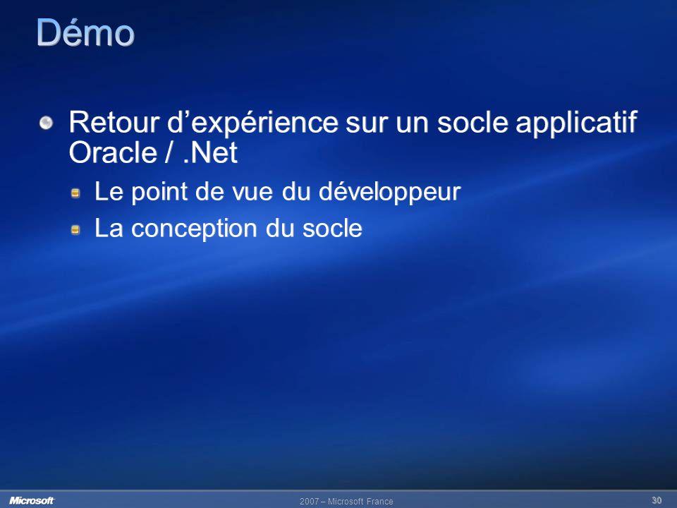 Démo Retour d'expérience sur un socle applicatif Oracle / .Net
