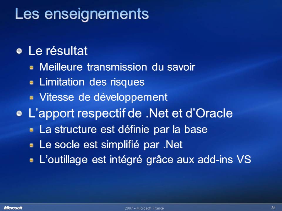 Les enseignements Le résultat L'apport respectif de .Net et d'Oracle
