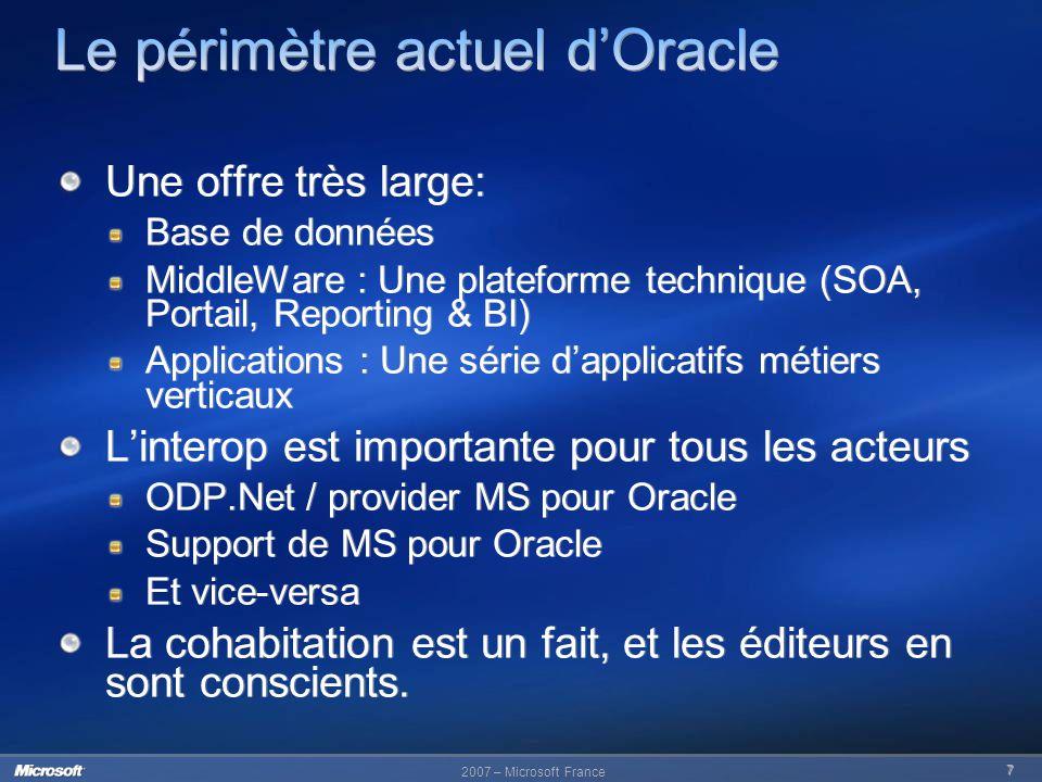 Le périmètre actuel d'Oracle