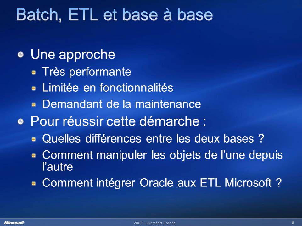 Batch, ETL et base à base Une approche Pour réussir cette démarche :