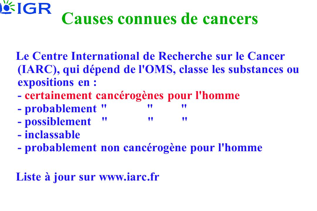 Causes connues de cancers