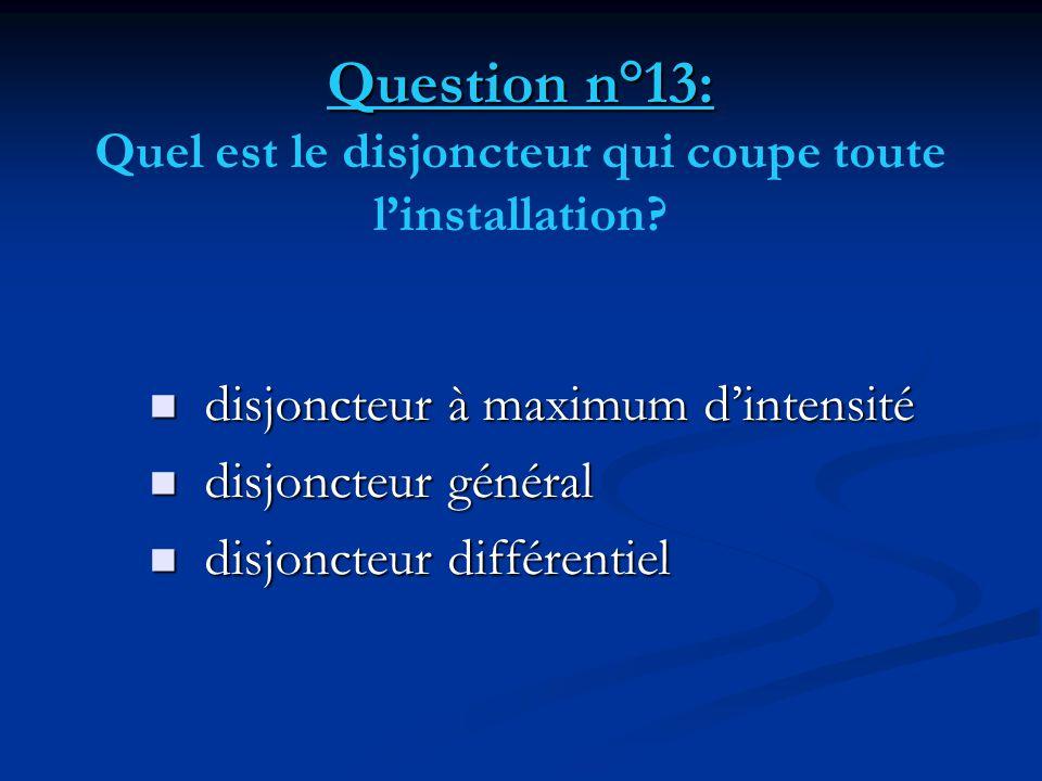 Question n°13: Quel est le disjoncteur qui coupe toute l'installation