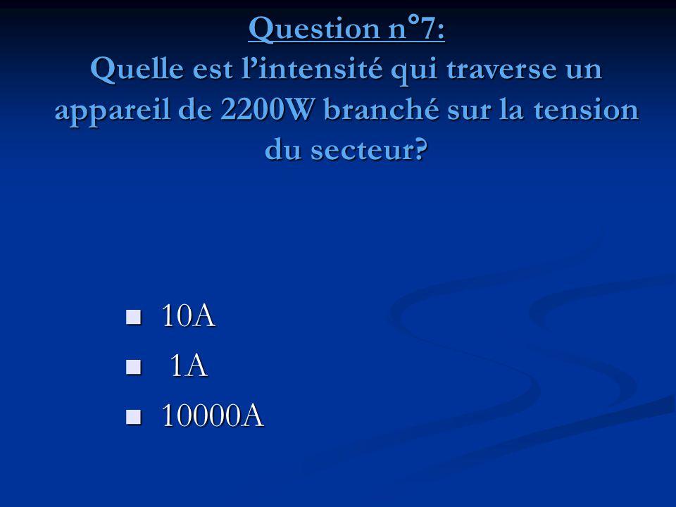 Question n°7: Quelle est l'intensité qui traverse un appareil de 2200W branché sur la tension du secteur