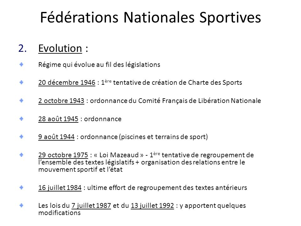 Fédérations Nationales Sportives