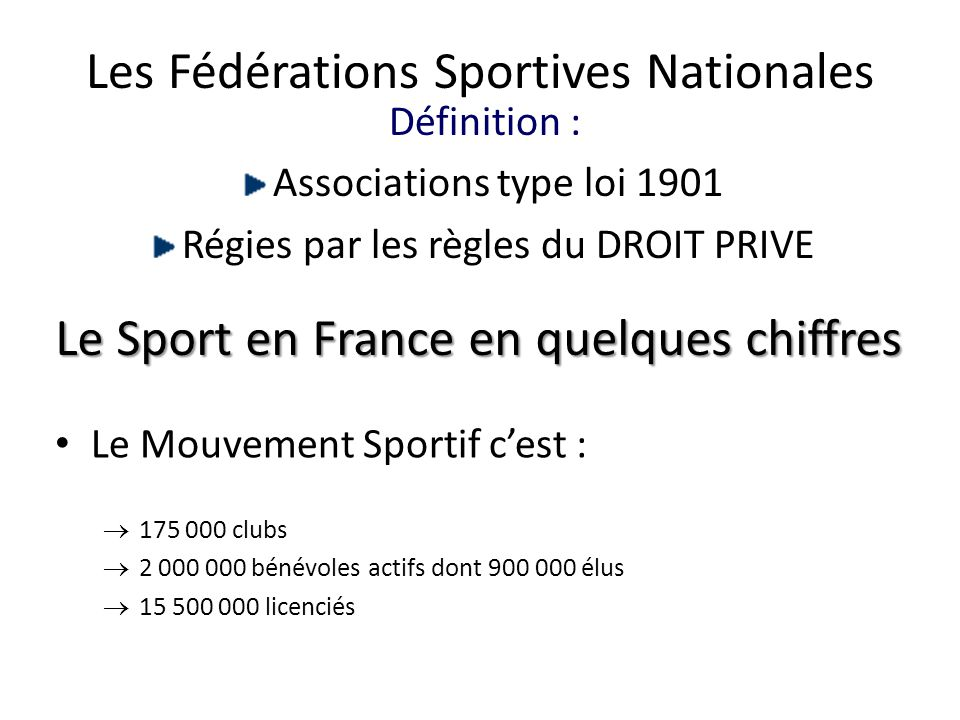 Les Fédérations Sportives Nationales