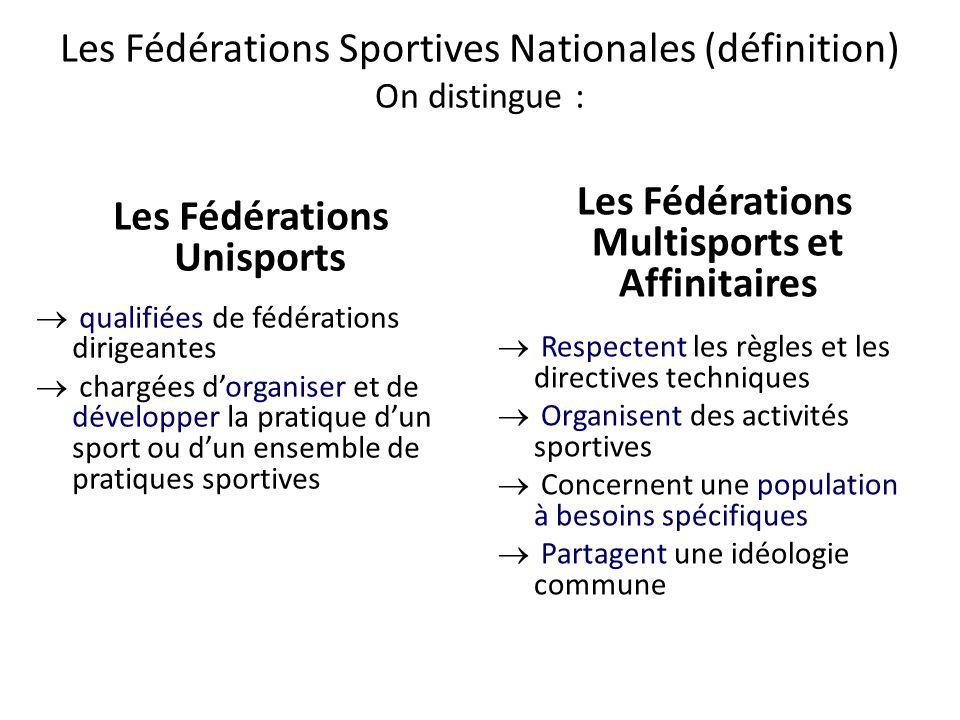 Les Fédérations Multisports et Affinitaires Les Fédérations Unisports