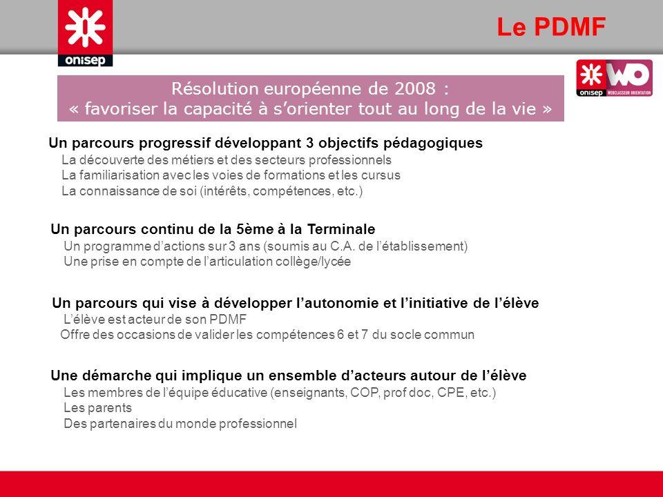 Le PDMF Résolution européenne de 2008 : « favoriser la capacité à s'orienter tout au long de la vie »