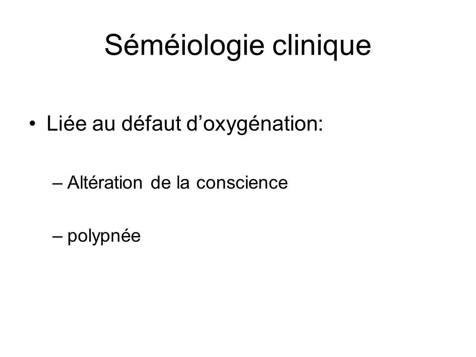 Séméiologie clinique Liée au défaut d'oxygénation: