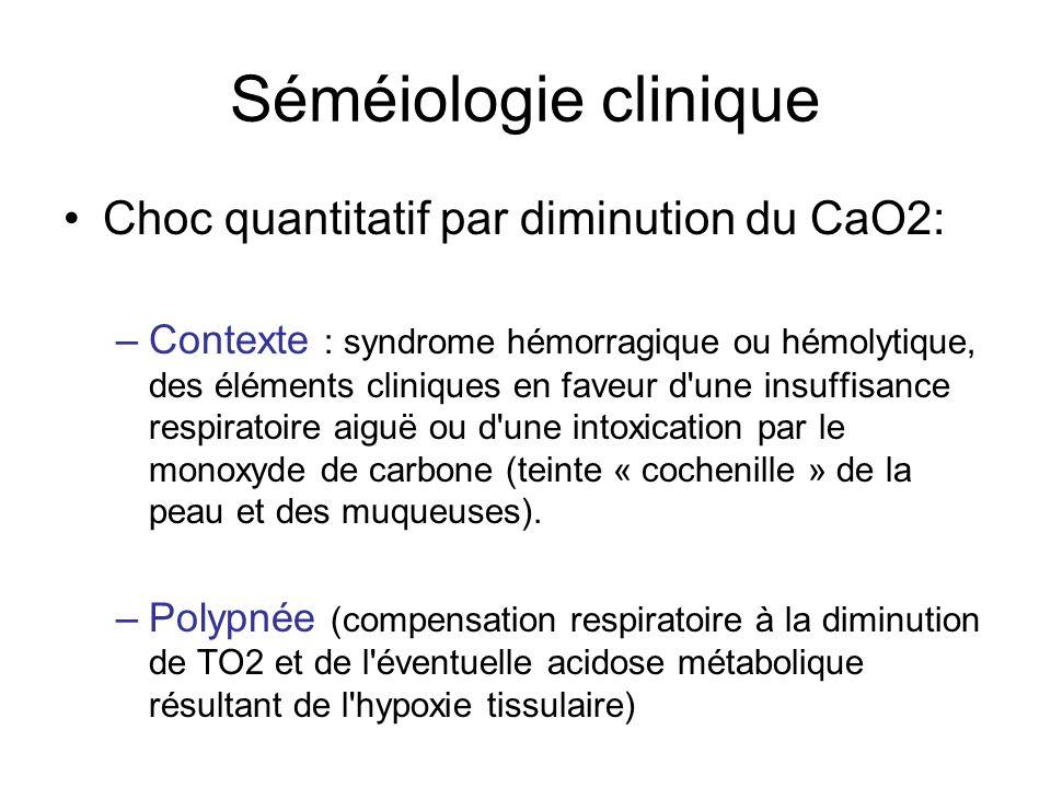 Séméiologie clinique Choc quantitatif par diminution du CaO2: