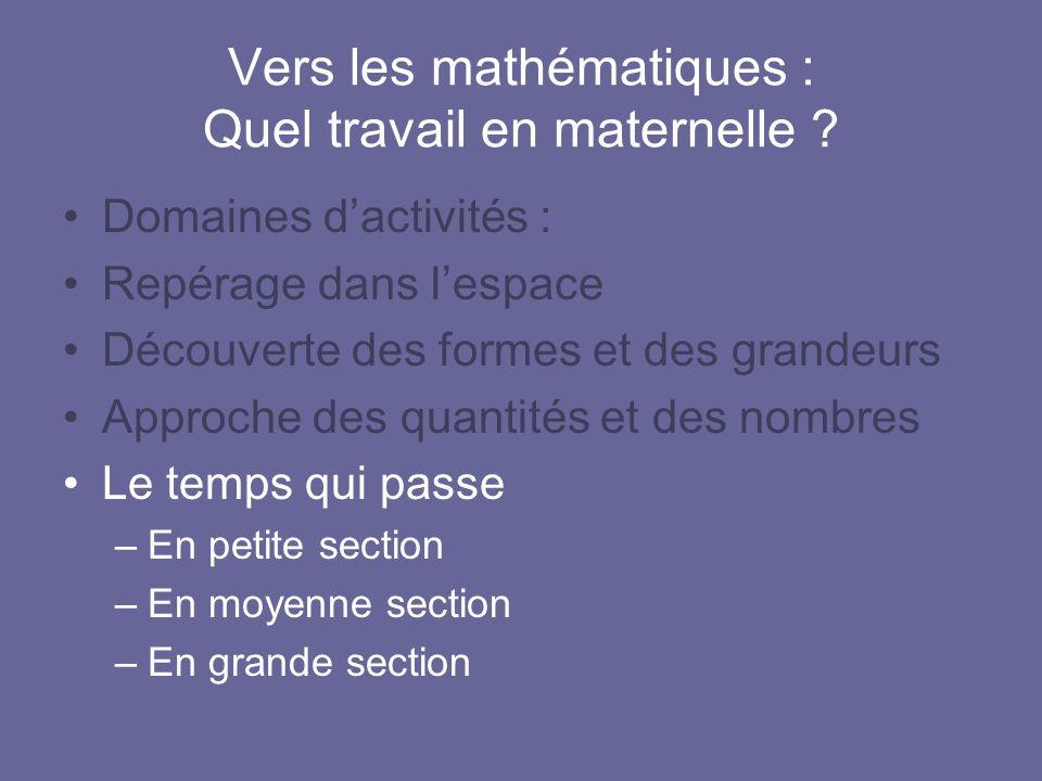 Vers les mathématiques : Quel travail en maternelle