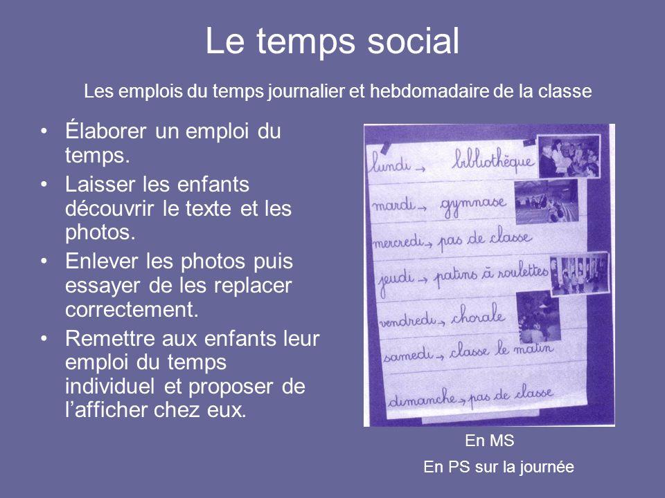 Le temps social Les emplois du temps journalier et hebdomadaire de la classe