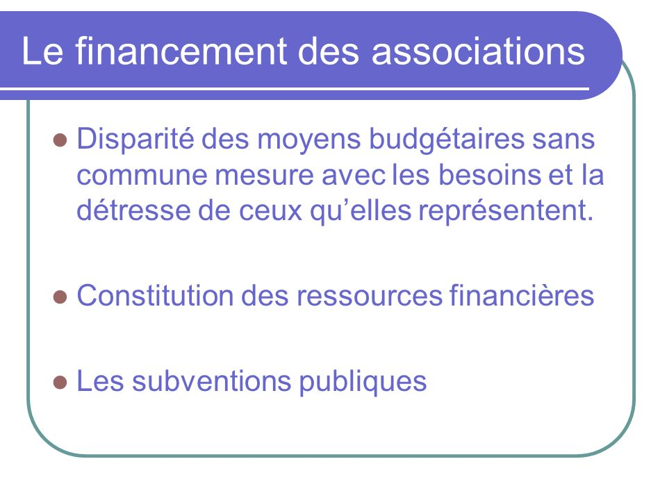 Le financement des associations