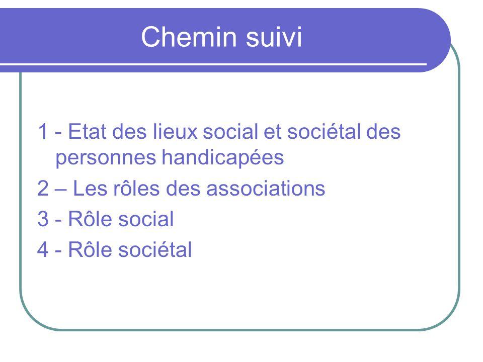 Chemin suivi 1 - Etat des lieux social et sociétal des personnes handicapées. 2 – Les rôles des associations.