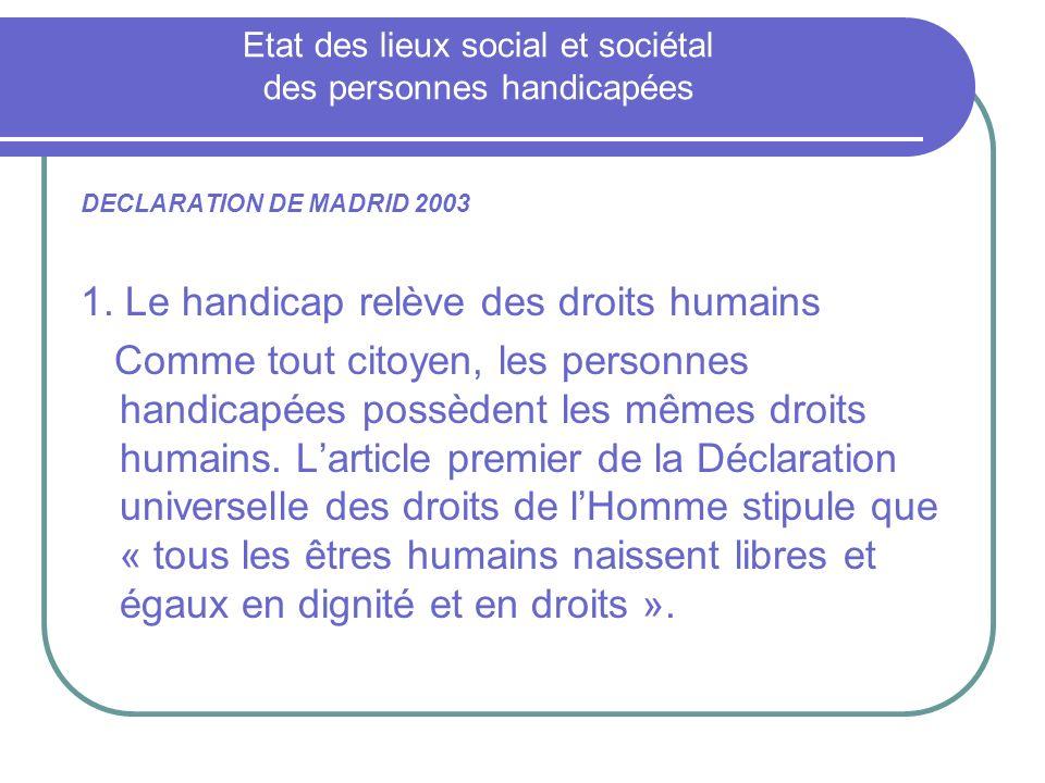 Etat des lieux social et sociétal des personnes handicapées
