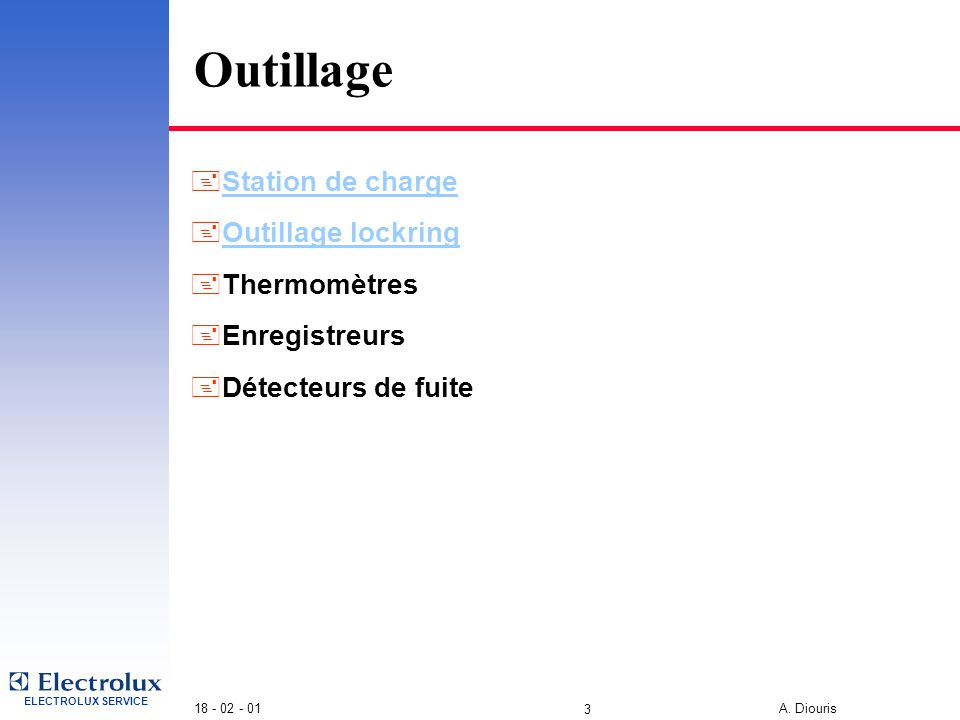 Outillage Station de charge Outillage lockring Thermomètres
