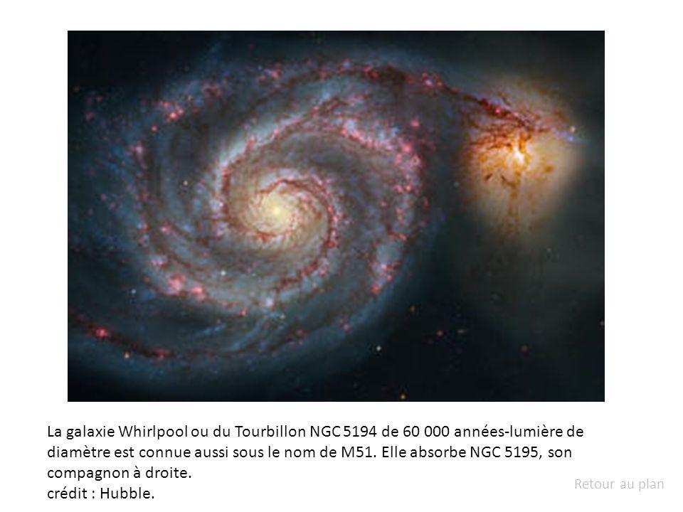 La galaxie Whirlpool ou du Tourbillon NGC 5194 de 60 000 années-lumière de diamètre est connue aussi sous le nom de M51. Elle absorbe NGC 5195, son compagnon à droite.