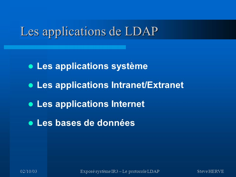 Les applications de LDAP