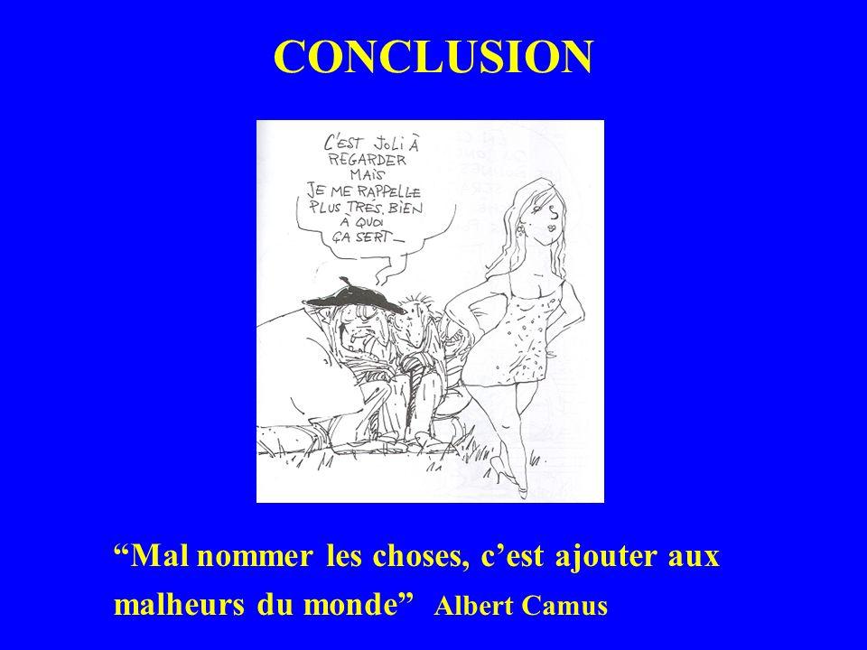 CONCLUSION Mal nommer les choses, c'est ajouter aux malheurs du monde Albert Camus