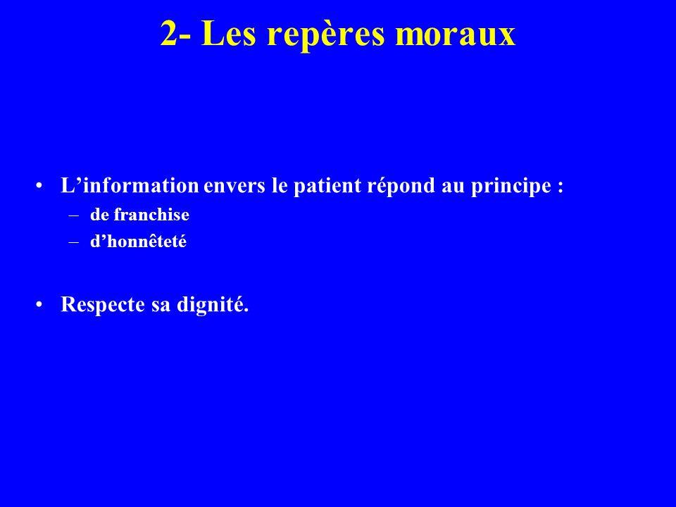 2- Les repères morauxL'information envers le patient répond au principe : de franchise. d'honnêteté.