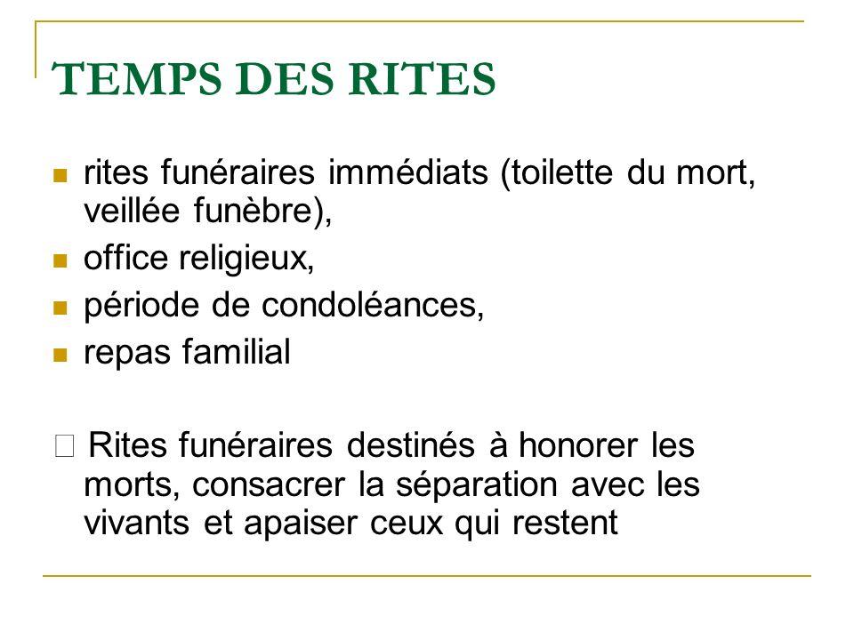 TEMPS DES RITES rites funéraires immédiats (toilette du mort, veillée funèbre), office religieux, période de condoléances,