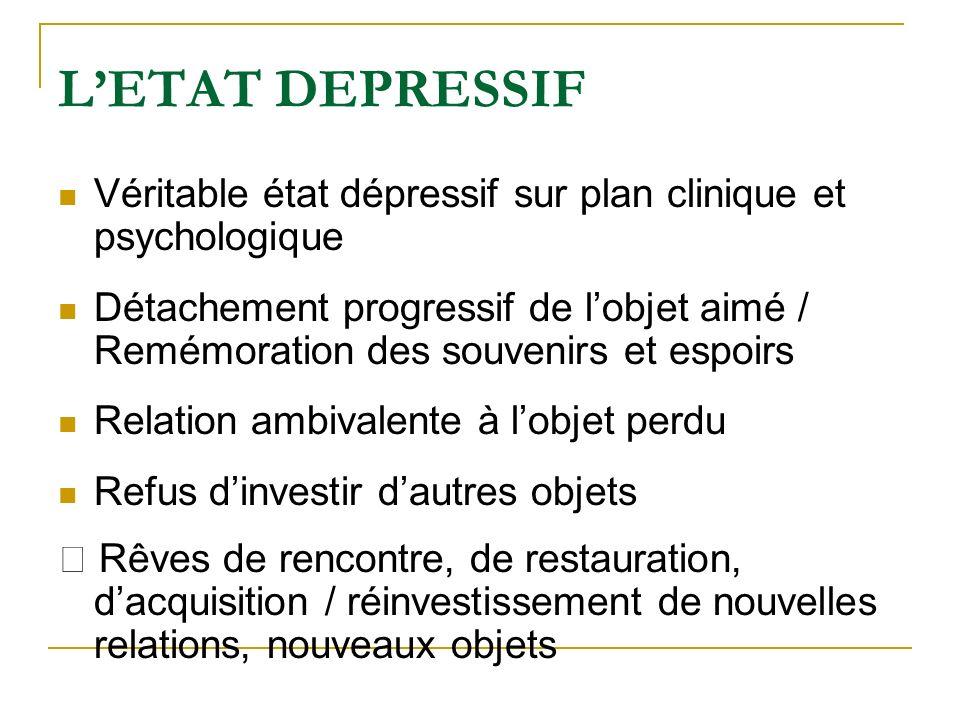 L'ETAT DEPRESSIF Véritable état dépressif sur plan clinique et psychologique.