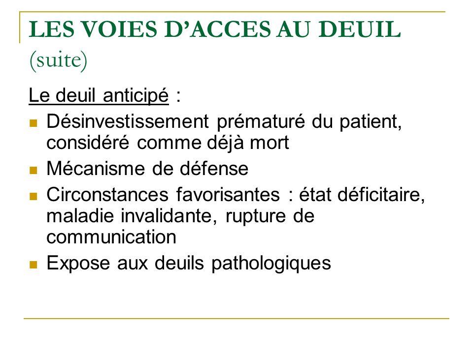 LES VOIES D'ACCES AU DEUIL (suite)