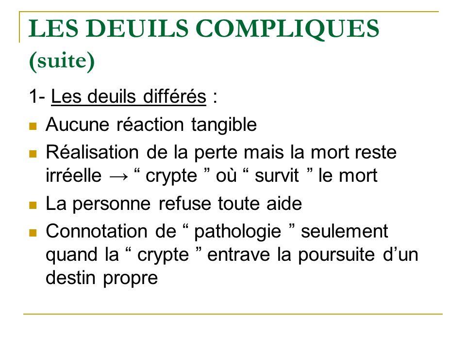 LES DEUILS COMPLIQUES (suite)