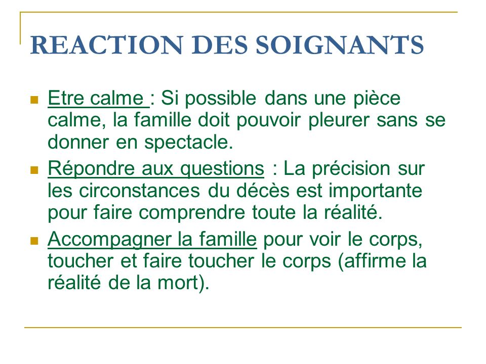 REACTION DES SOIGNANTS