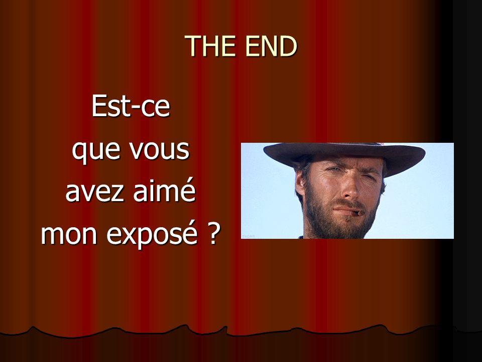 THE END Est-ce que vous avez aimé mon exposé