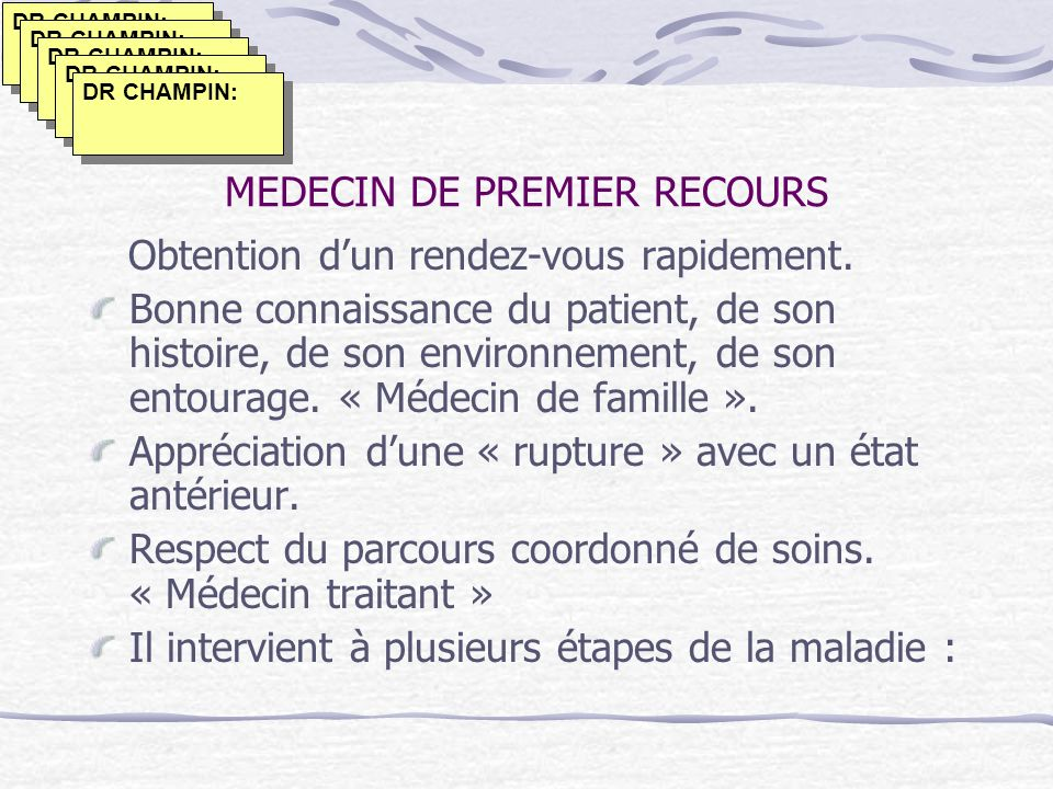 MEDECIN DE PREMIER RECOURS