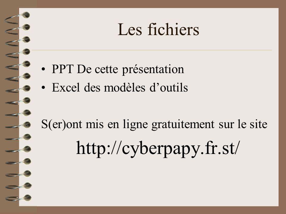 Les fichiers PPT De cette présentation Excel des modèles d'outils