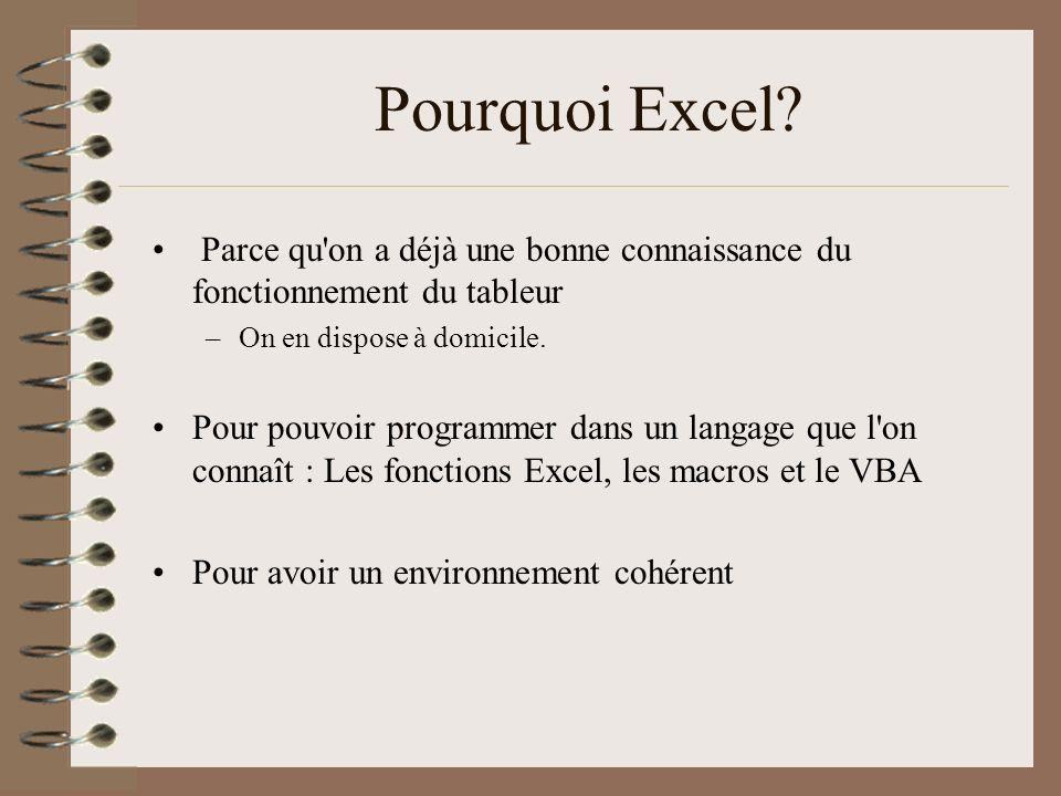Pourquoi Excel Parce qu on a déjà une bonne connaissance du fonctionnement du tableur. On en dispose à domicile.
