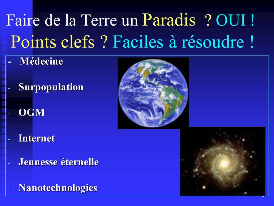 Faire de la Terre un Paradis OUI ! Points clefs Faciles à résoudre !