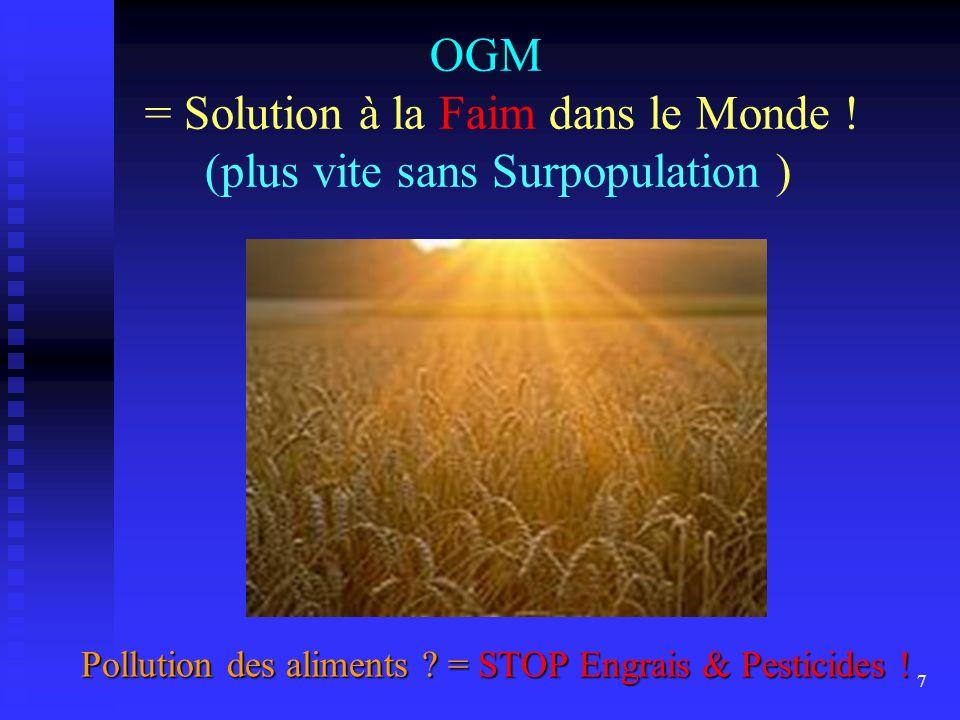 OGM = Solution à la Faim dans le Monde ! (plus vite sans Surpopulation )