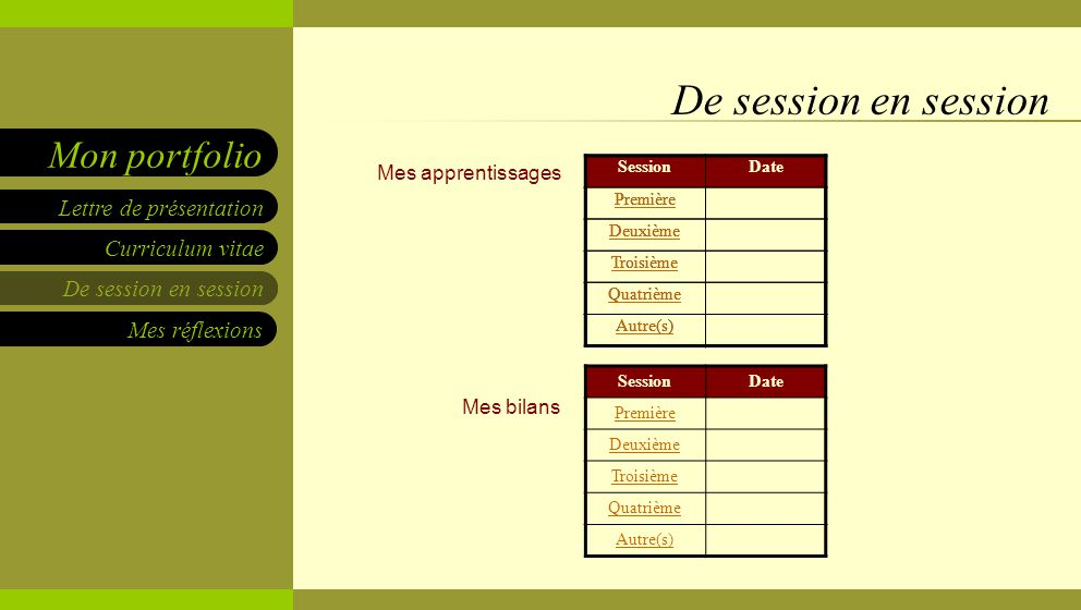 De session en session Mes apprentissages Mes bilans Session Date