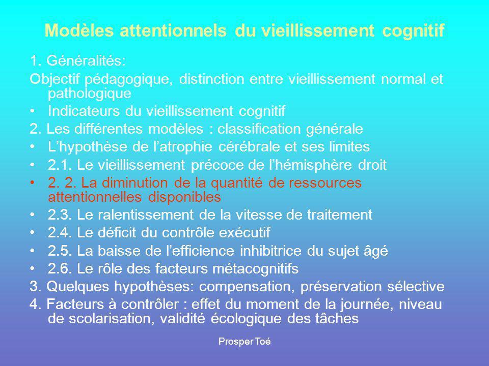 Modèles attentionnels du vieillissement cognitif