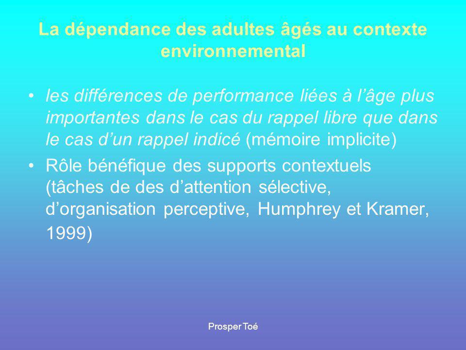 La dépendance des adultes âgés au contexte environnemental