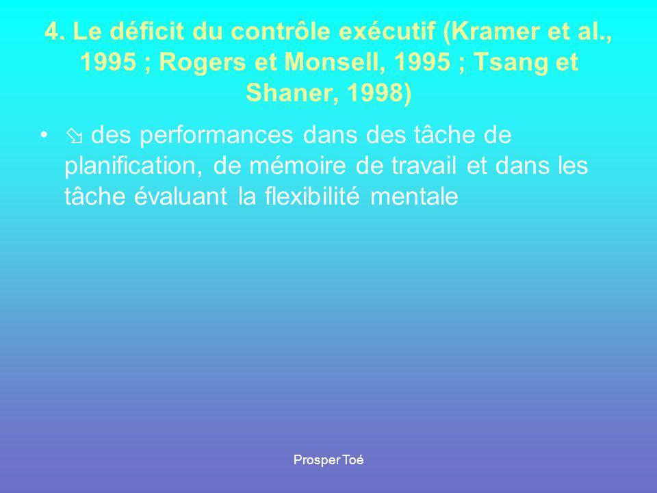 4. Le déficit du contrôle exécutif (Kramer et al