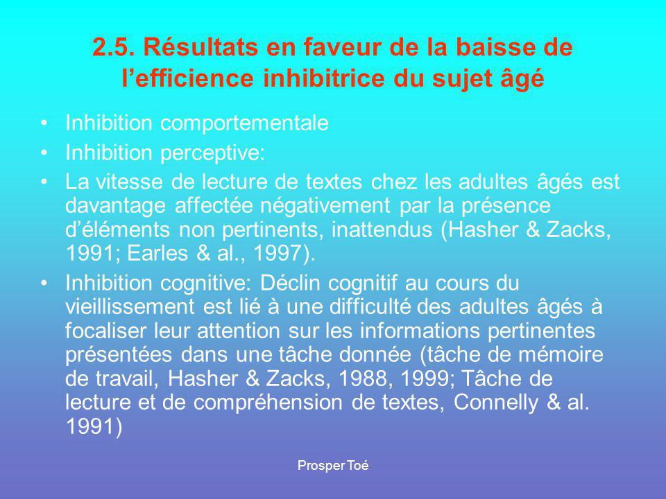 2.5. Résultats en faveur de la baisse de l'efficience inhibitrice du sujet âgé