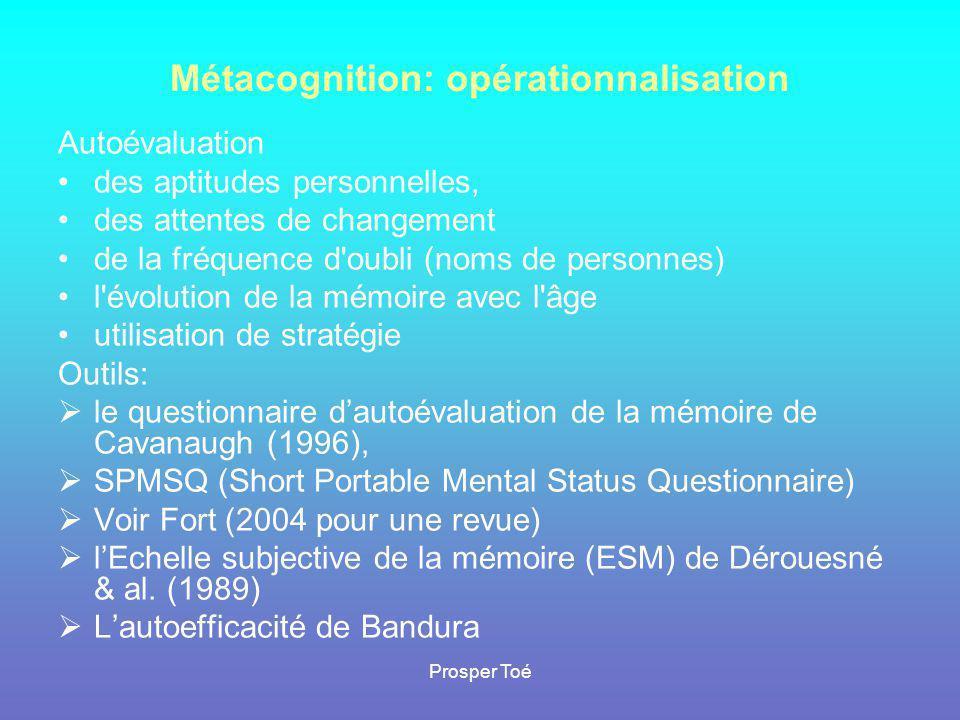 Métacognition: opérationnalisation