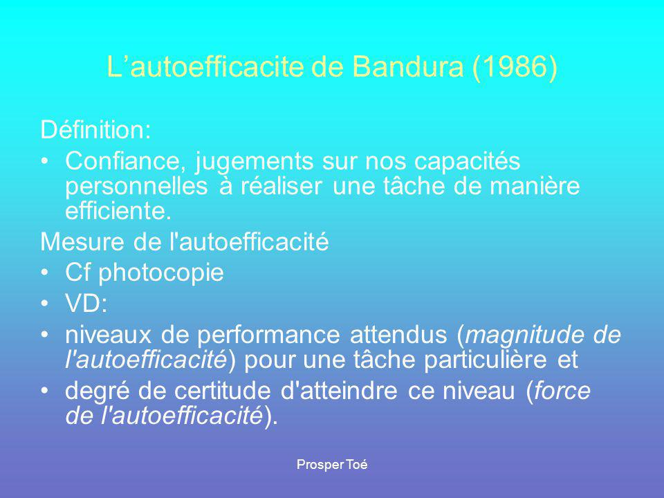 L'autoefficacite de Bandura (1986)