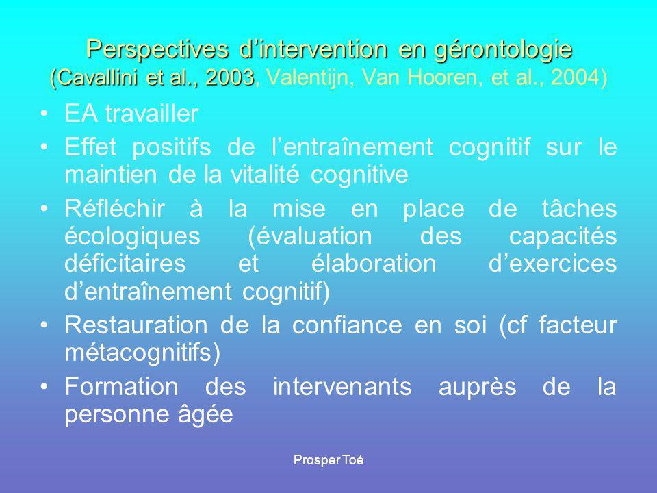 Restauration de la confiance en soi (cf facteur métacognitifs)