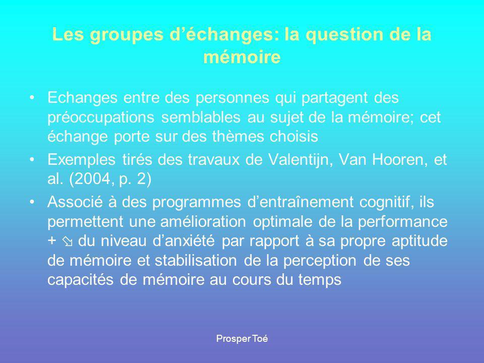 Les groupes d'échanges: la question de la mémoire