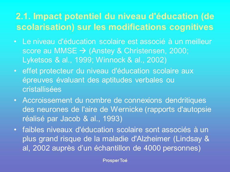 2.1. Impact potentiel du niveau d éducation (de scolarisation) sur les modifications cognitives